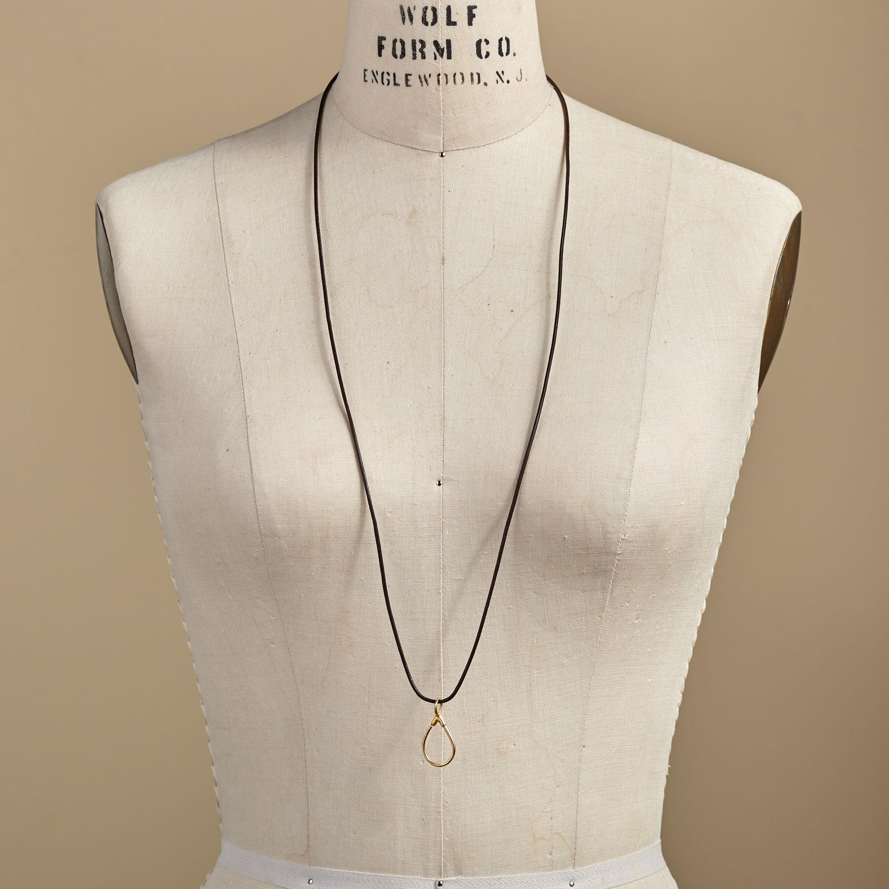 GOLD LEATHER CHARMHOLDER NECKLACE: View 3