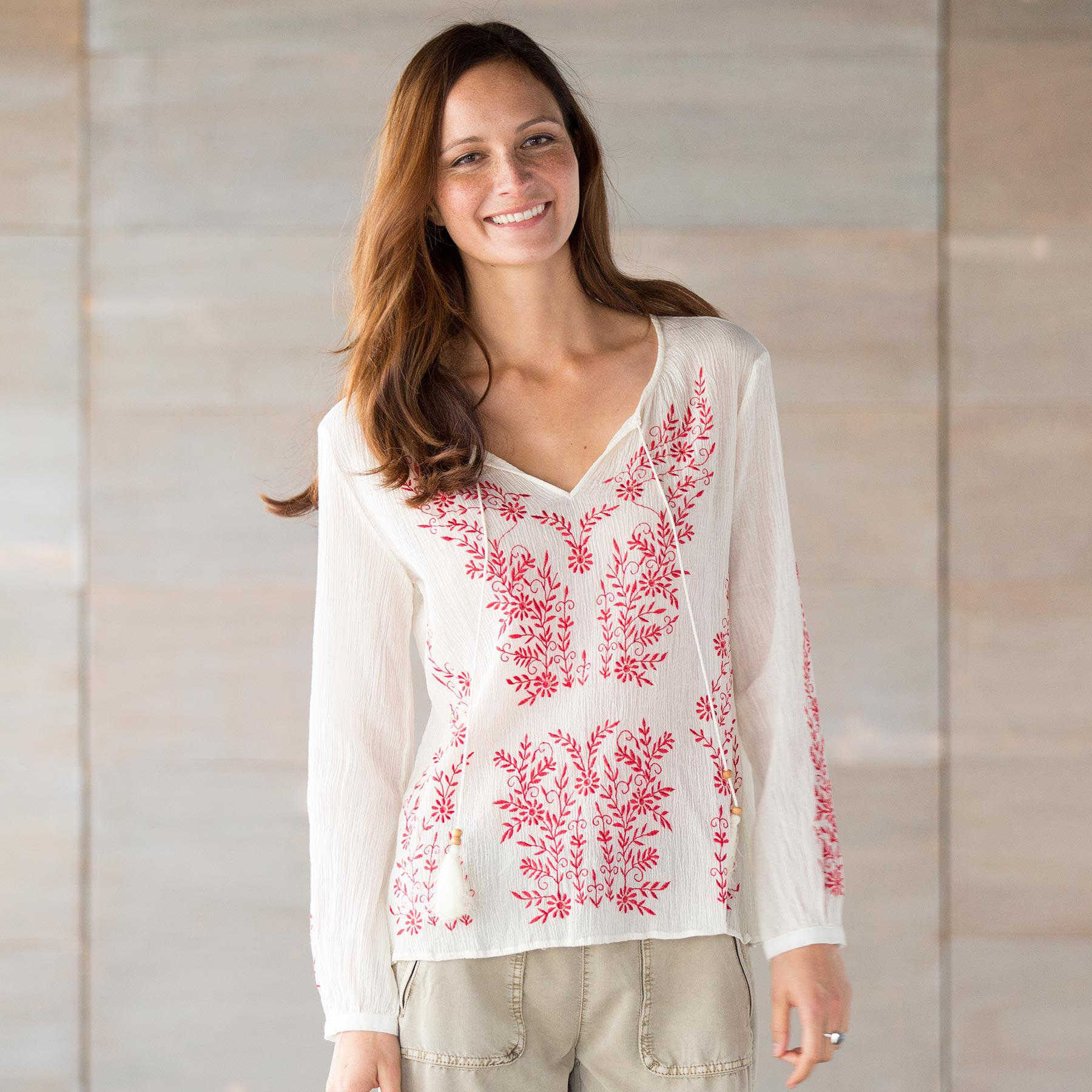 TOLANI ASHLEY EMBROIDERED TOP: View 1
