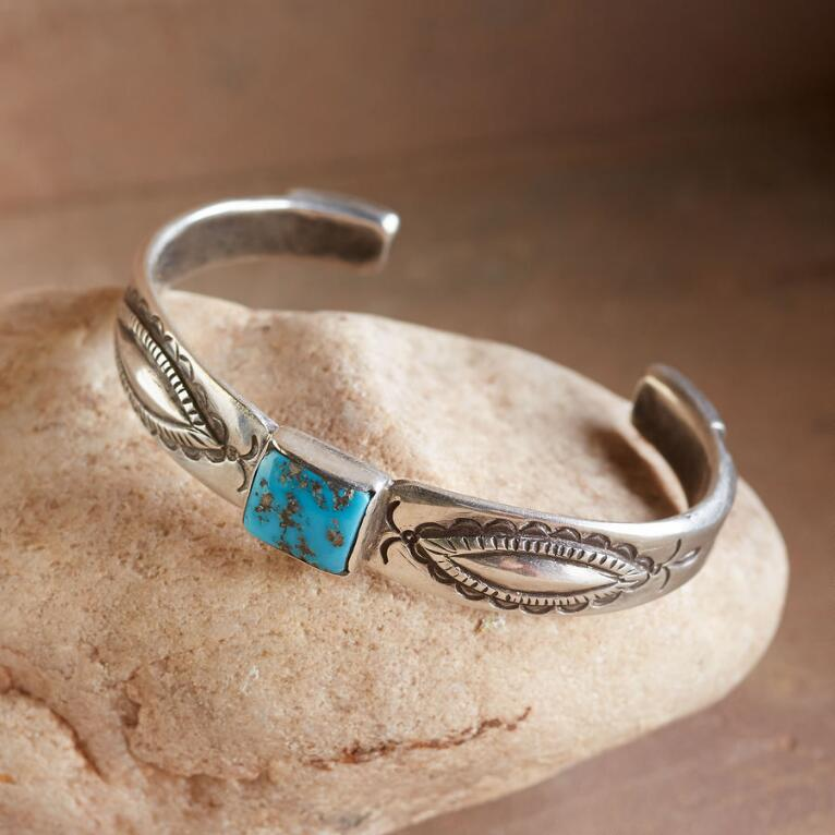 MORENCI TURQUOISE REPOUSSE CUFF
