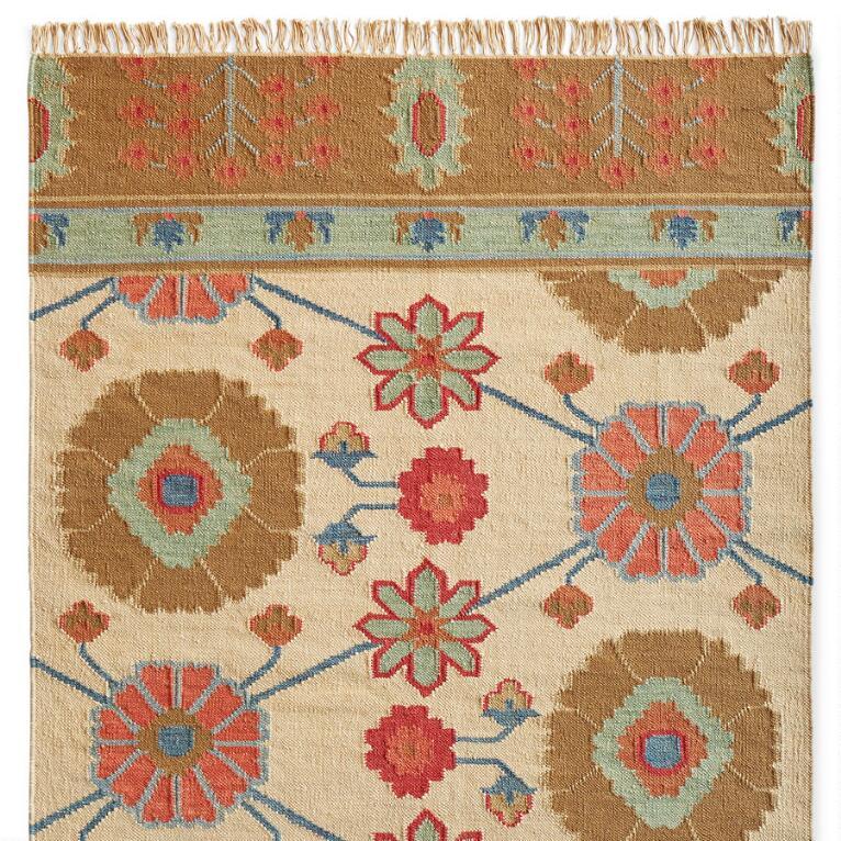 Large Fringed Wool/Cotton Kilim Rug