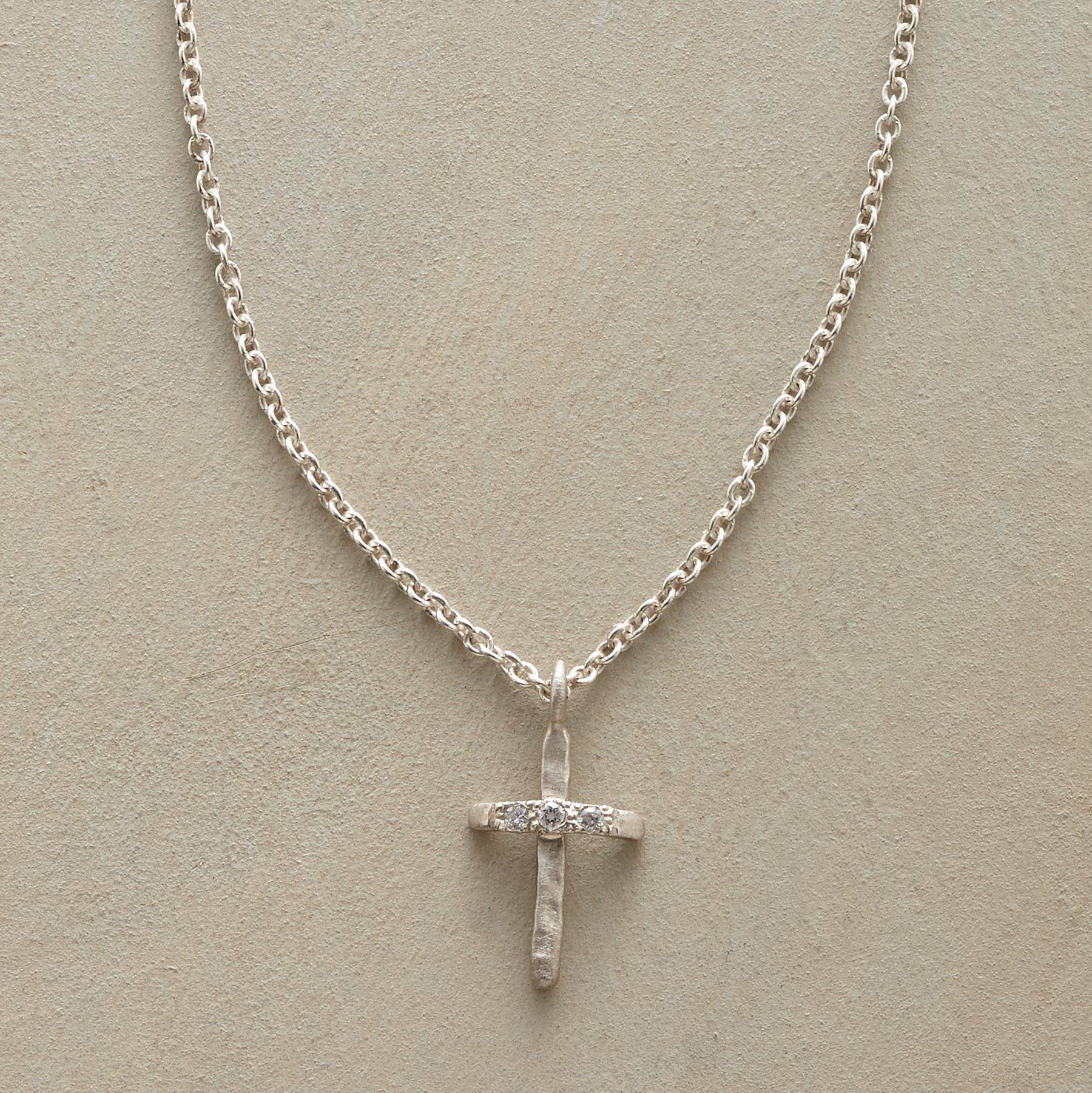 DIAMOND-KISSED CROSS NECKLACE: View 1