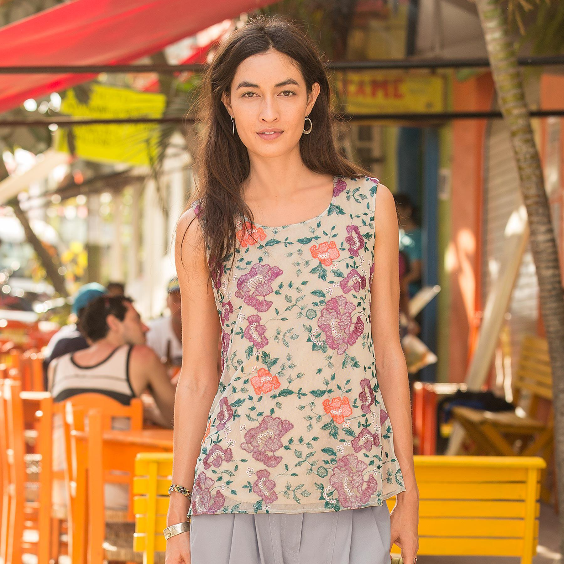 ROSAMAR EMBROIDERED TANK: View 1