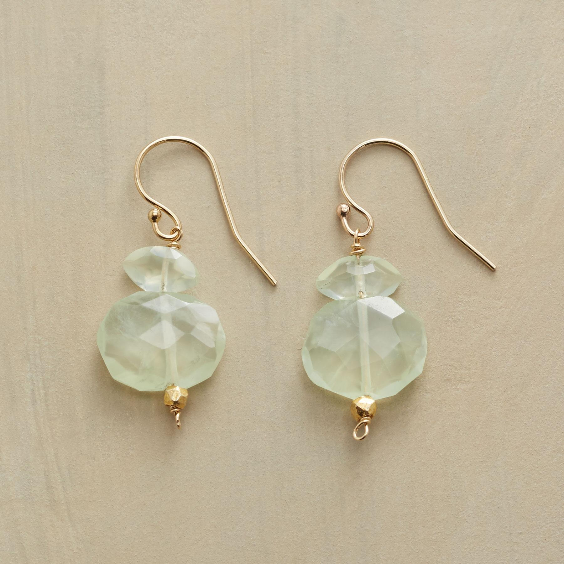 PREHNITE NUGGET EARRINGS: View 1
