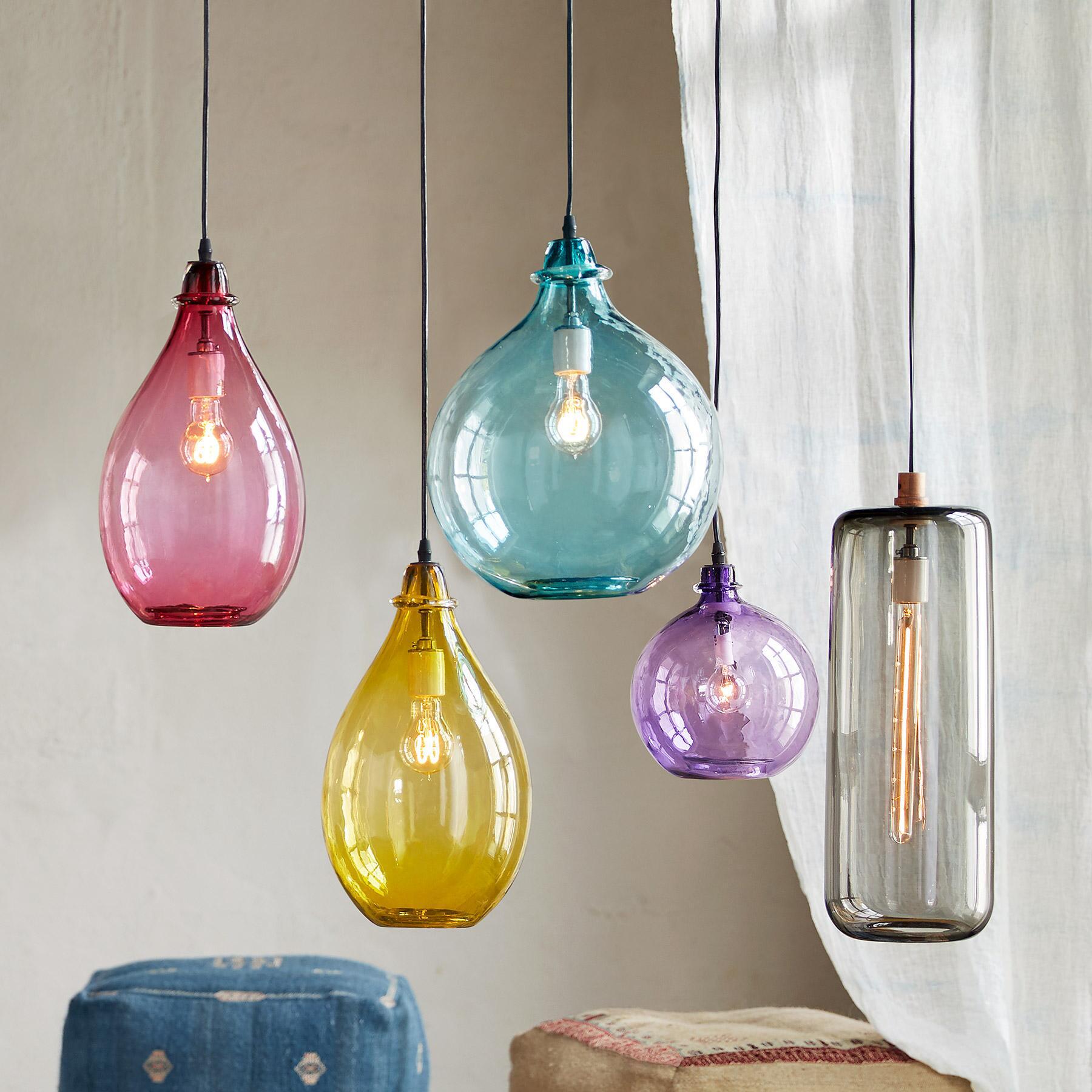 SALON GLASS CYLINDER PENDANT LIGHT: View 5