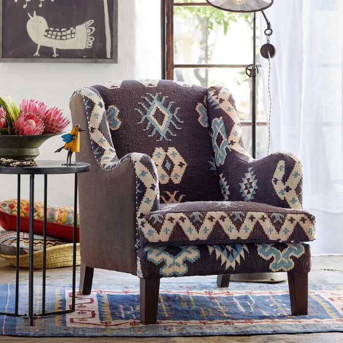 BAJA BLUE KILIM CLUB CHAIR