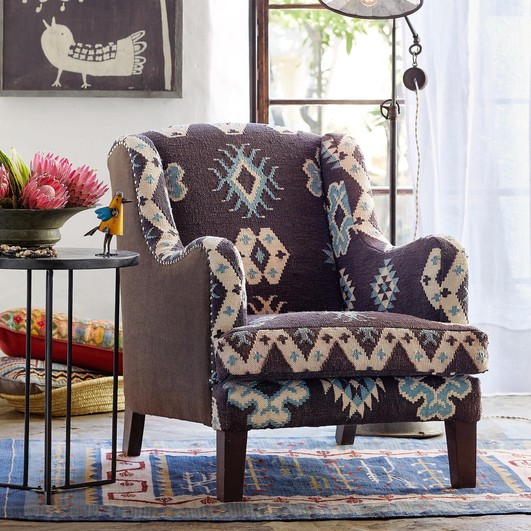 Handmade kilim upholstered wing chair robert redfords sundance catalog