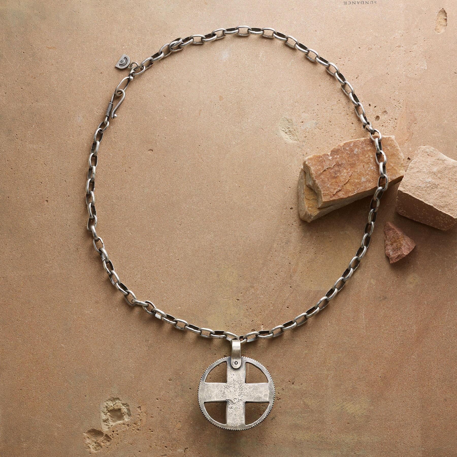 STERLING CROSS MEDALLION NECKLACE: View 2