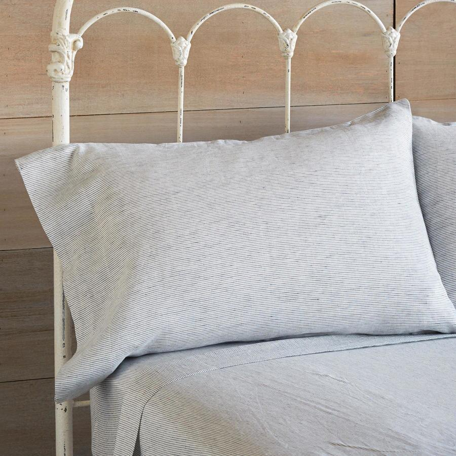 EMERITUS LINEN PINSTRIPE PILLOWCAS