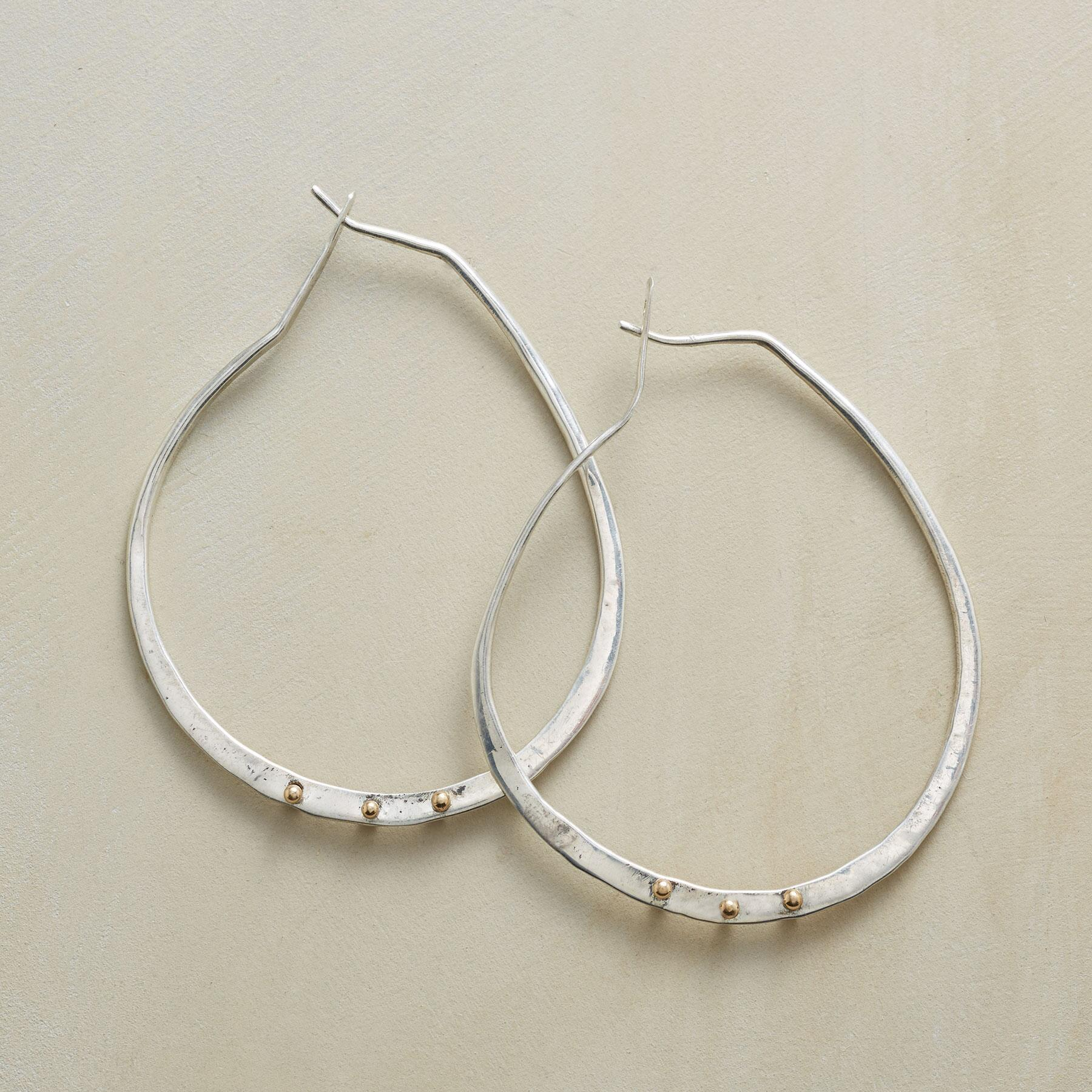 GOLD BARBELL HOOPS: View 1