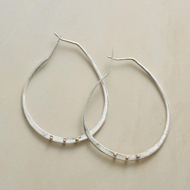 GOLD BARBELL HOOPS