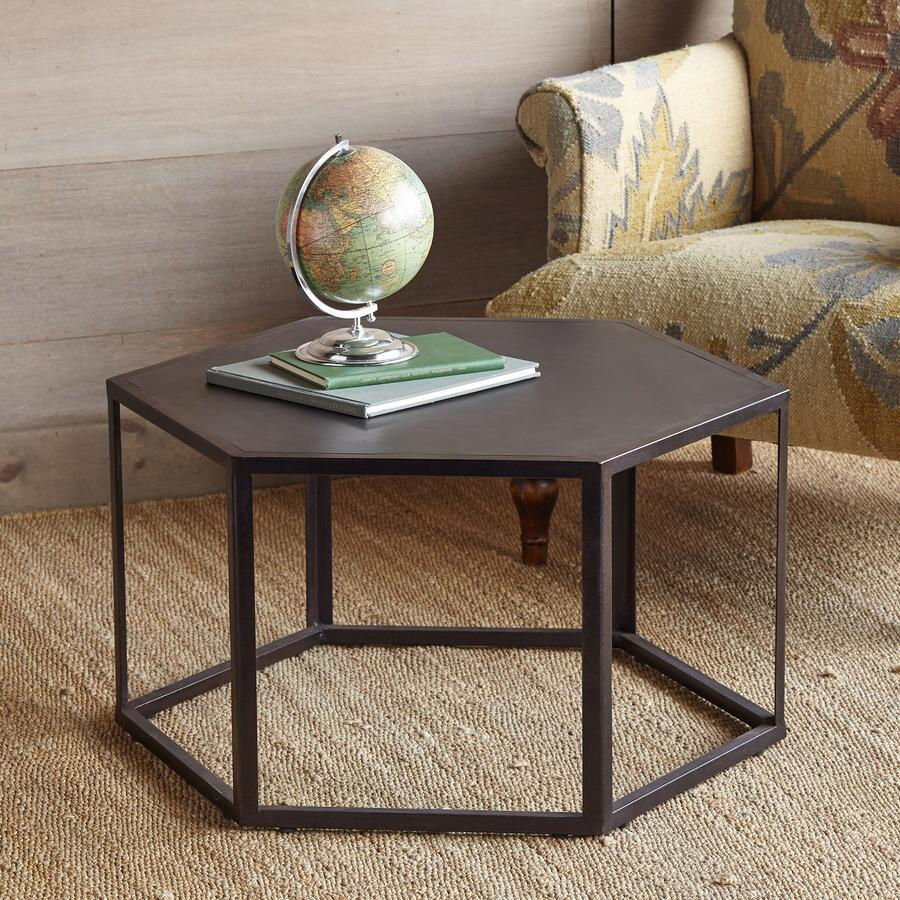 Recycled rubber side table robert redfords sundance catalog route 66 hexagon coffee table geotapseo Images
