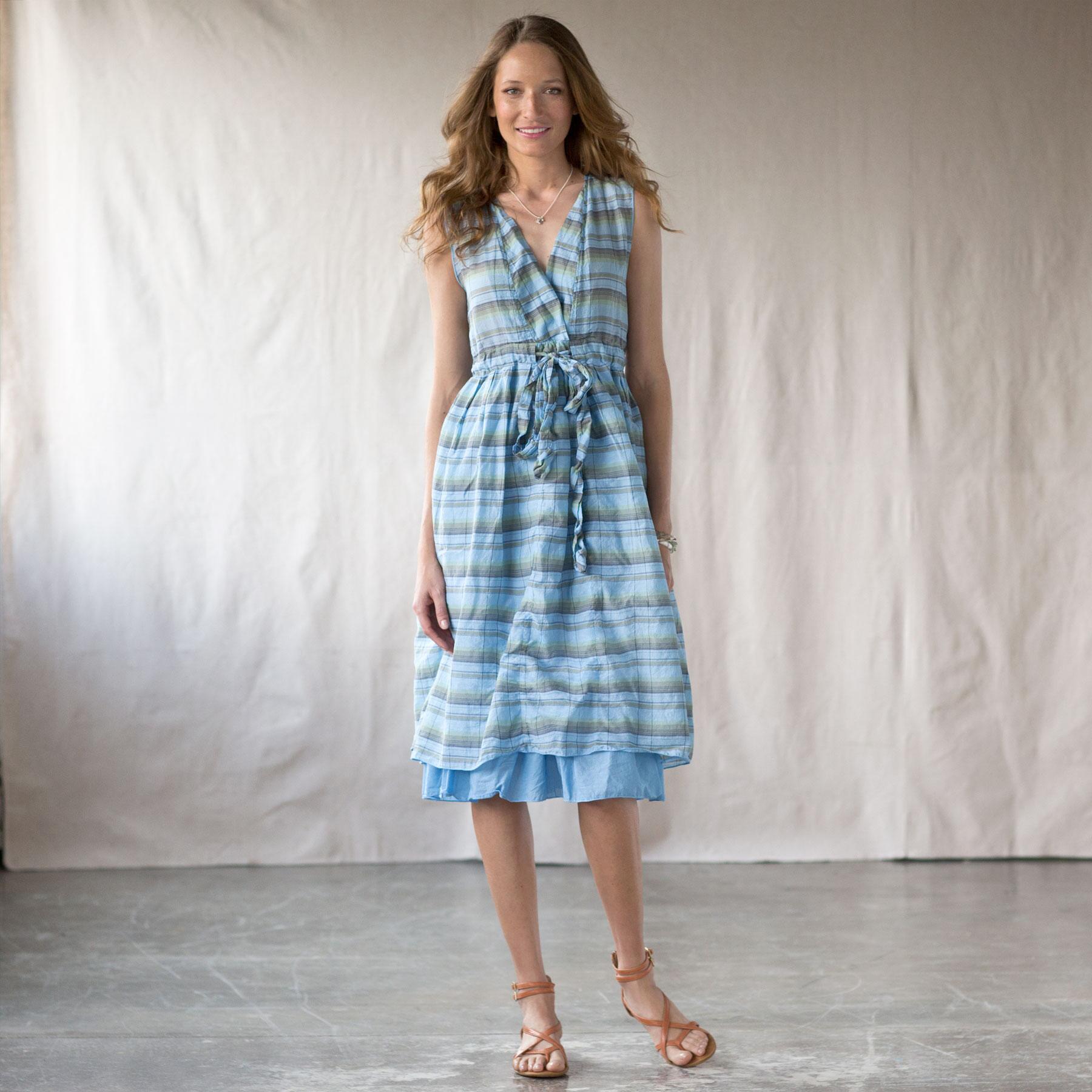 JULIA DRESS OVERDYED PLAID MARINE: View 1