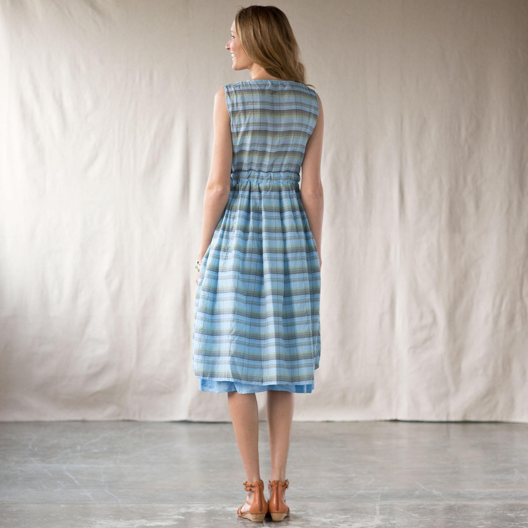 JULIA DRESS OVERDYED PLAID MARINE: View 2
