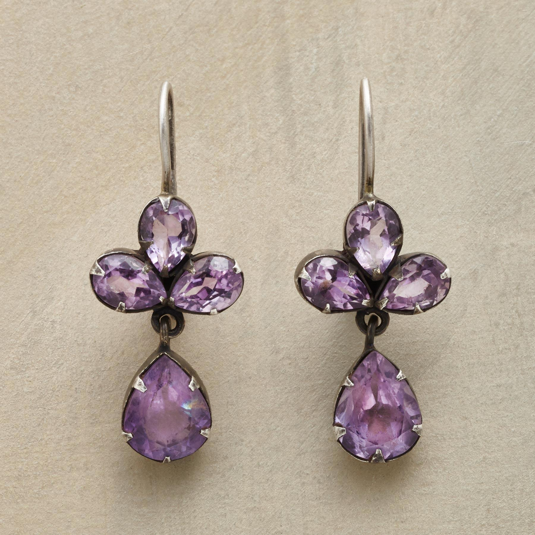 TREFOIL AMETHYST EARRINGS: View 1