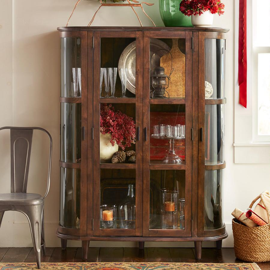 Go green with our new reclaimed teak western decor furniture available - Rustic And Contemporary Combine Handsomely In Our Reclaimed Wood Display Cabinet With Curved Glass Doors