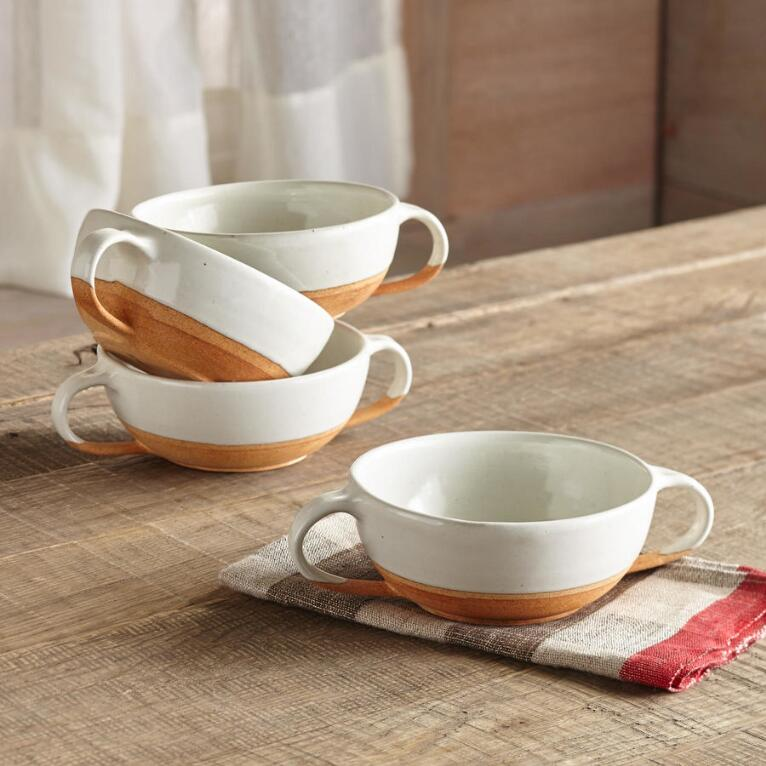TERRA HANDLED SOUP BOWLS S/4