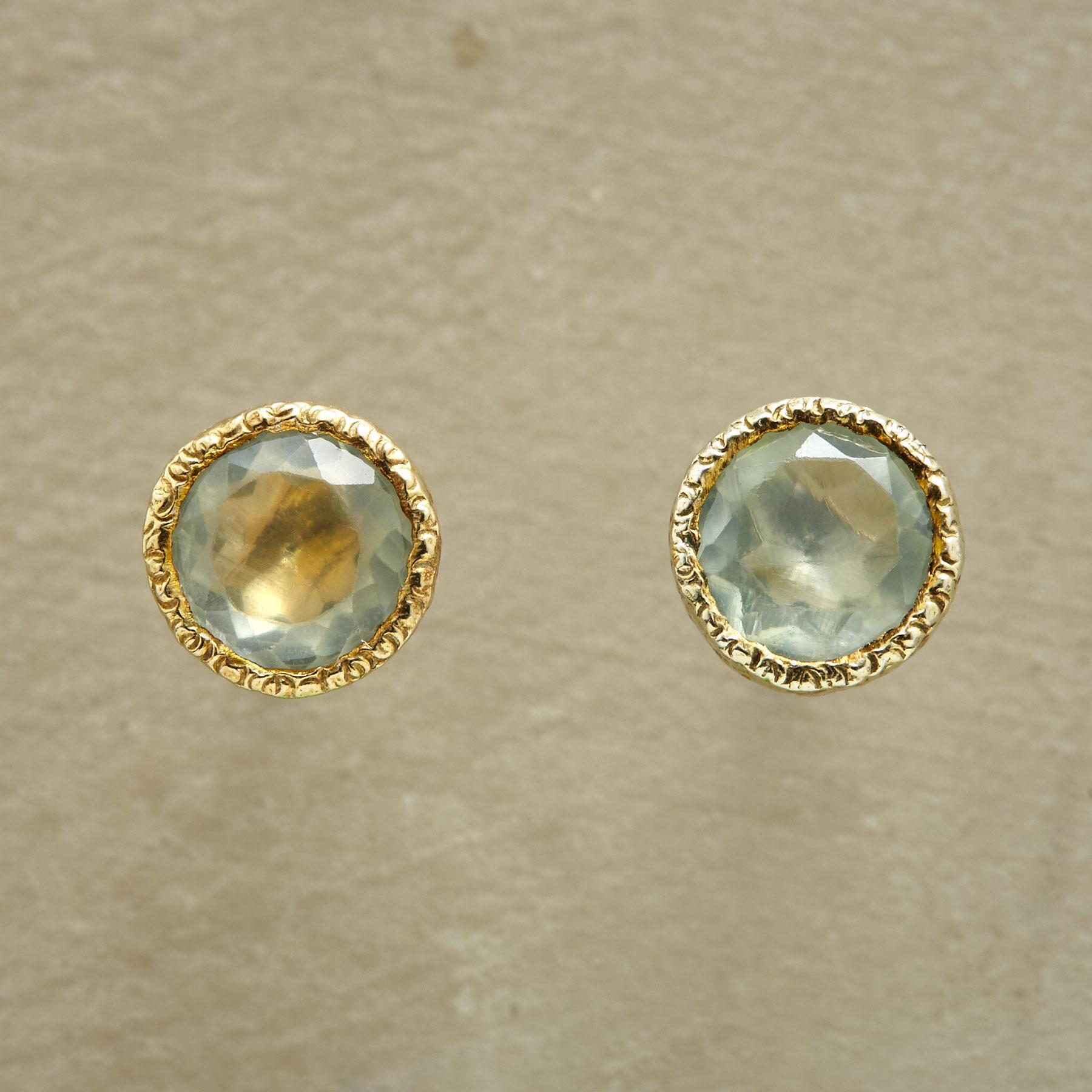 PAIRED PREHNITE EARRINGS: View 1