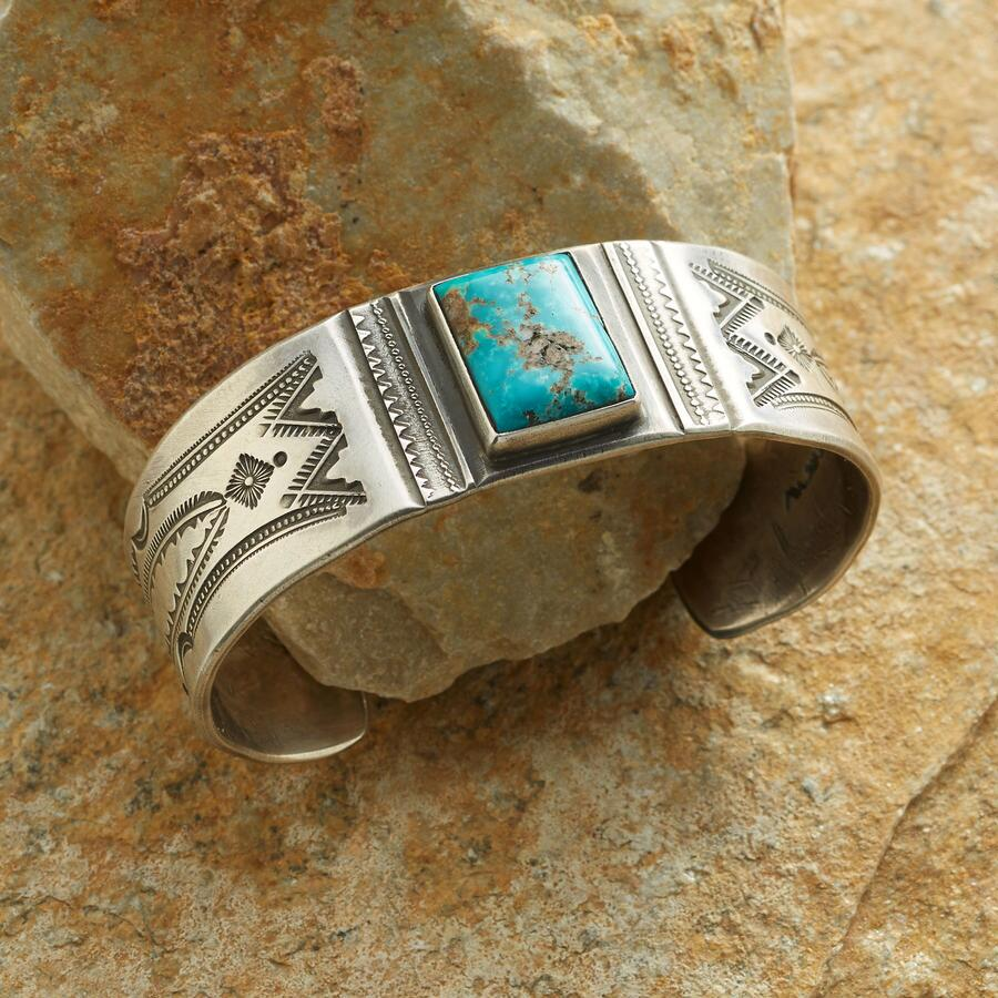 TURQUOISE SIGNET STAMPED CUFF