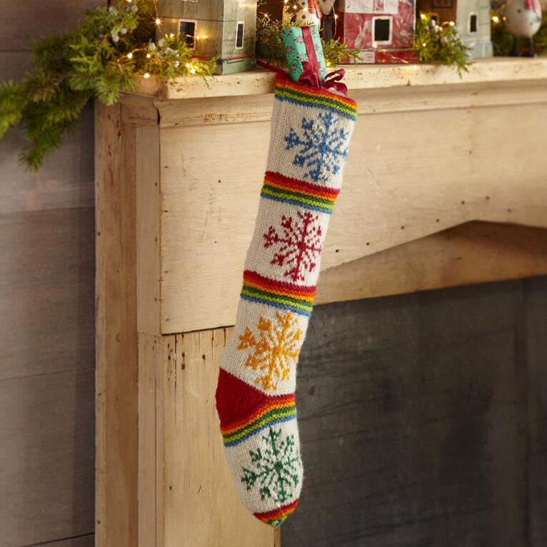HEIRLOOM COLORFUL SNOWFLAKE STOCKING