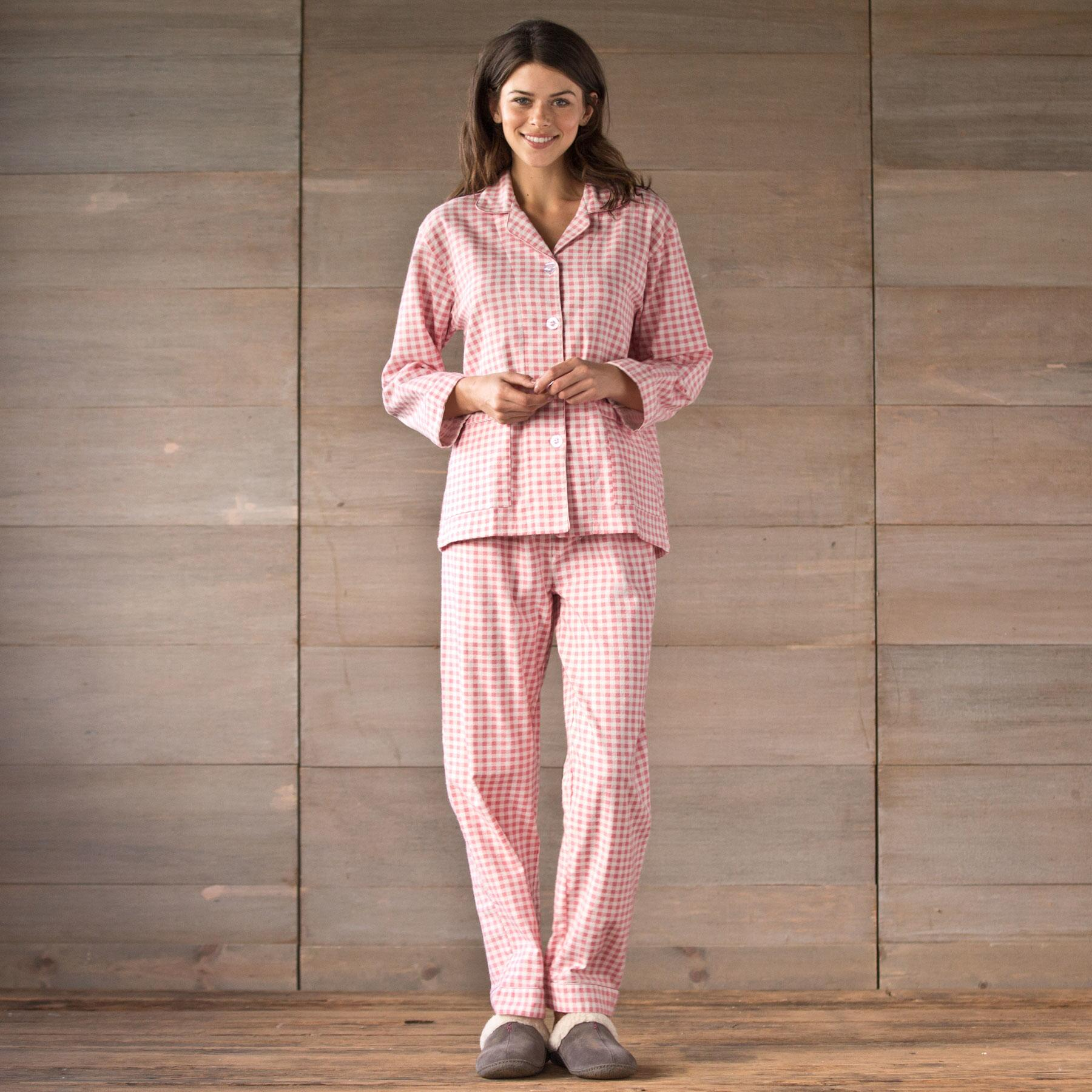 GINGHAM PRINTED FLANNEL PJ SET: View 1