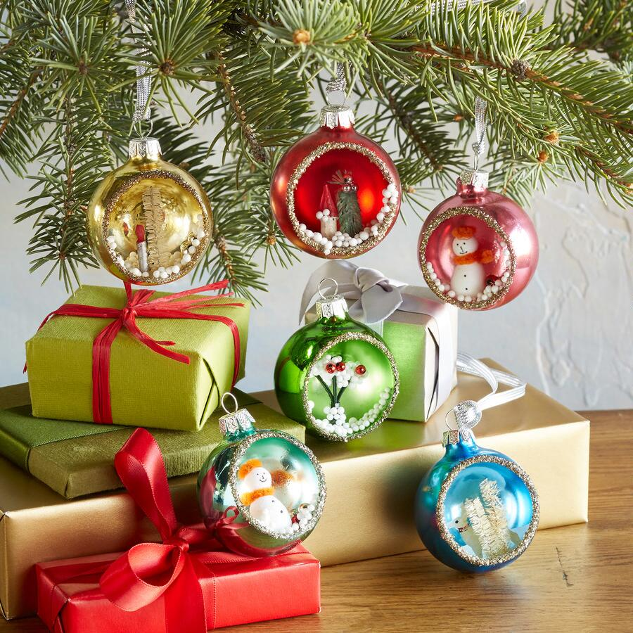 VINTAGE DIORAMA GLASS ORNAMENTS, SET OF 6