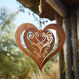 LAYERS OF LACY HEARTS HANGING ART