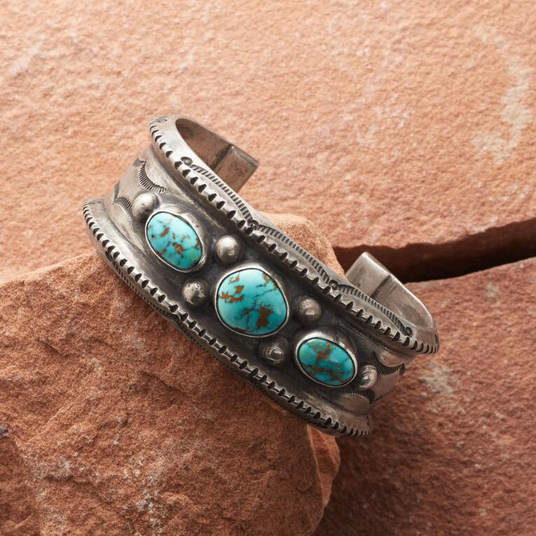 ROYSTON TURQUOISE TRIO STERLING CUFF