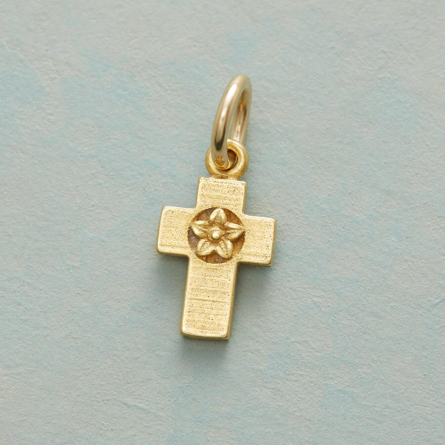 FLOWERS FAITH AND LOVE CROSS CHARM GOLD