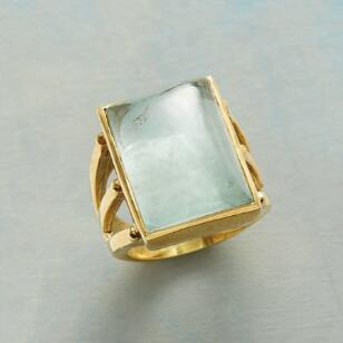 THREE PRONG AQUA RING