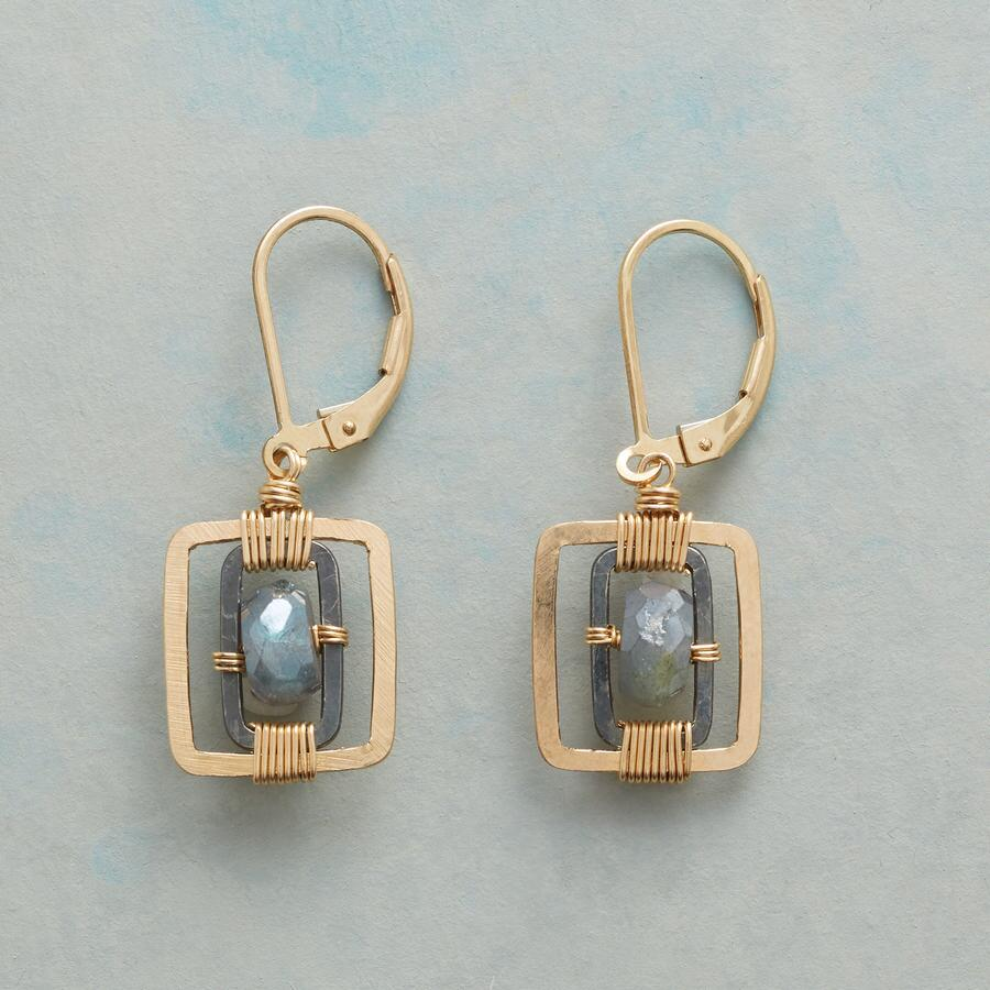 FRAMED LABRADORITE EARRINGS