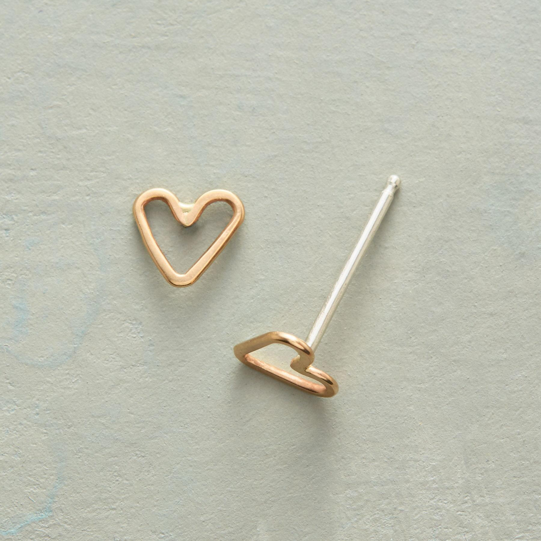 TINY HEARTS, BIG LOVE GOLD EARRINGS: View 1