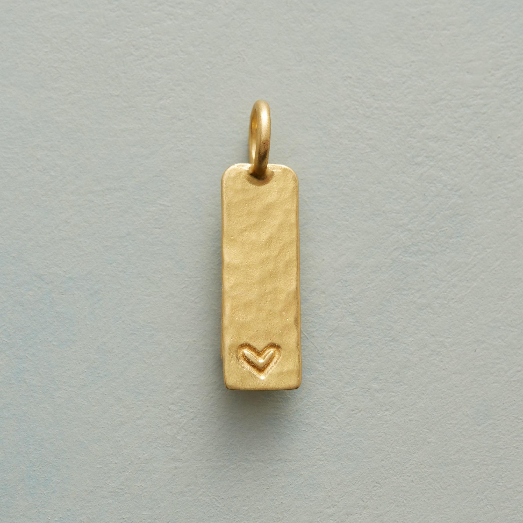 INSCRIBED HEART CHARM GOLD: View 1