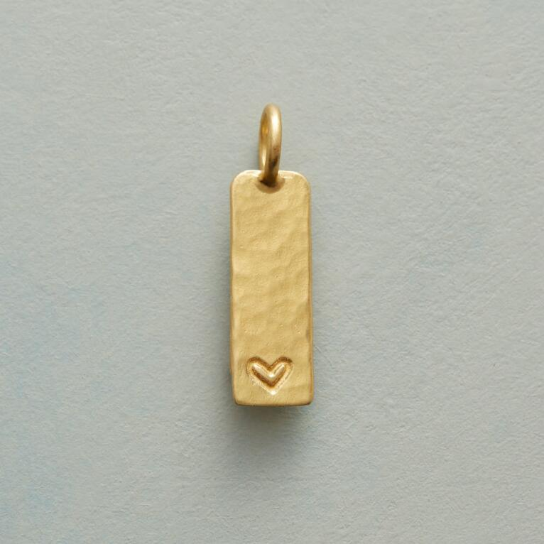 INSCRIBED HEART CHARM GOLD