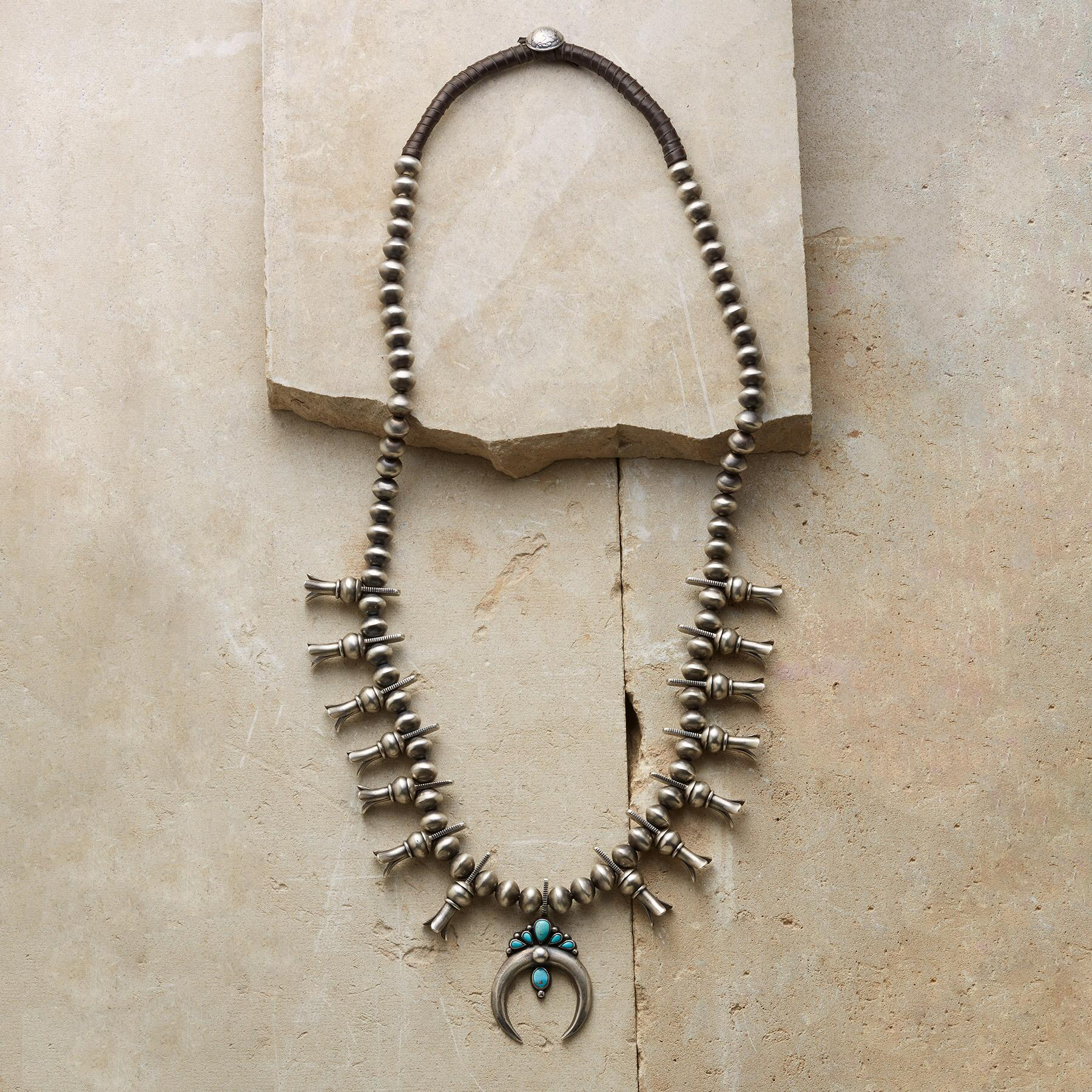 TURQUOISE SQUASH BLOSSOM NECKLACE: View 1