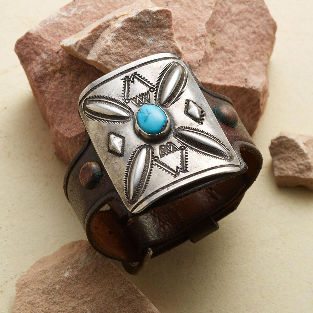 STERLING & LEATHER BOWGUARD CUFF: View 1