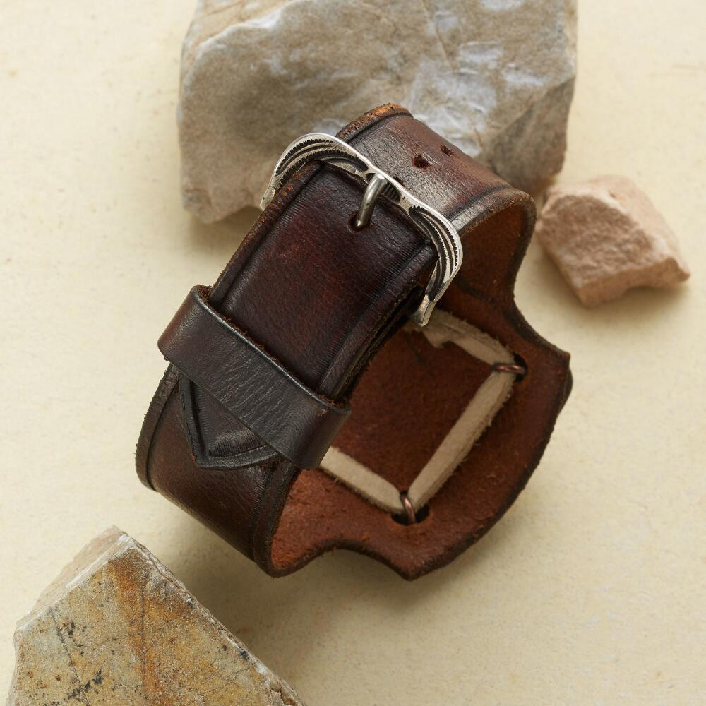 STERLING & LEATHER BOWGUARD CUFF: View 2