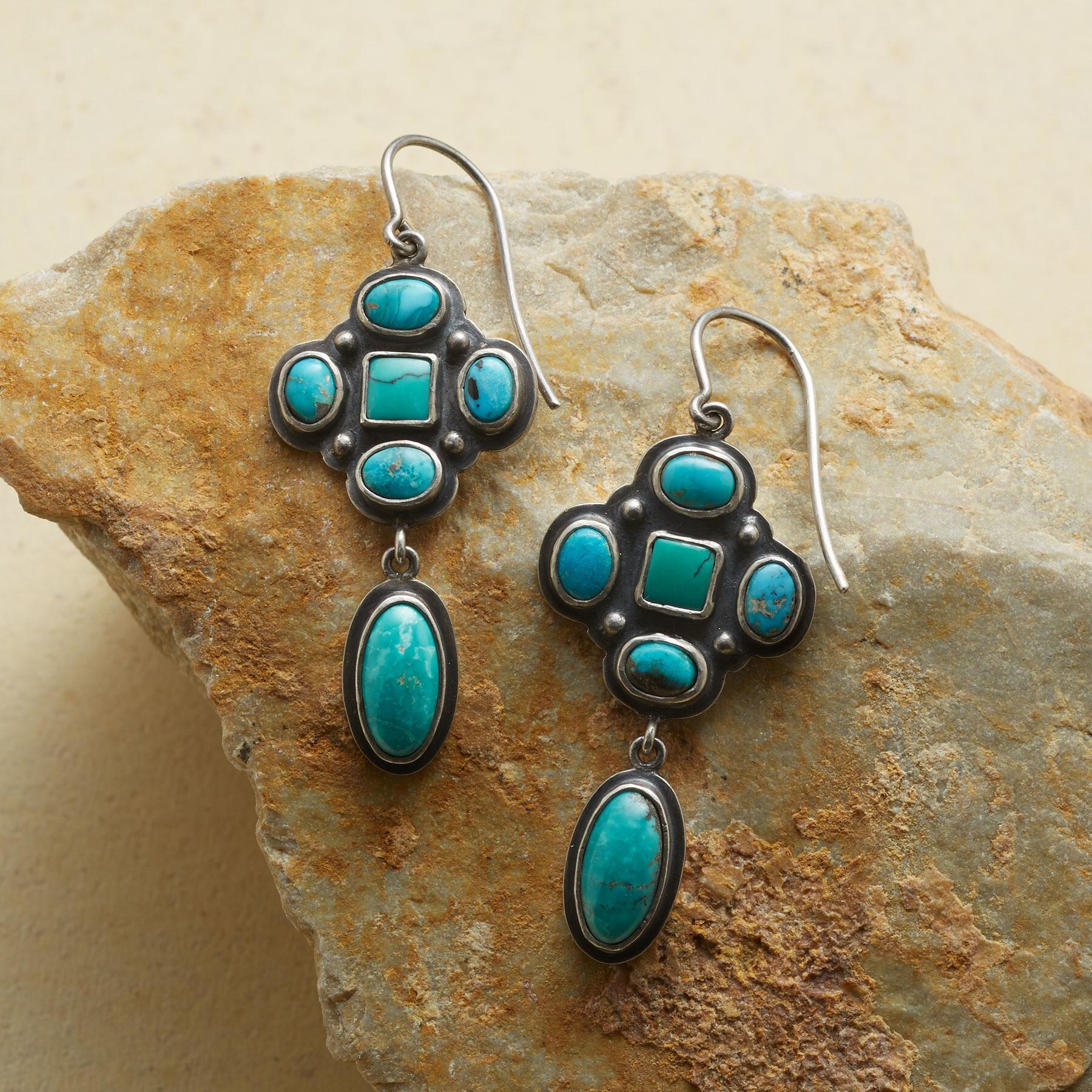 TURQUOISE CLUSTER EARRINGS: View 1