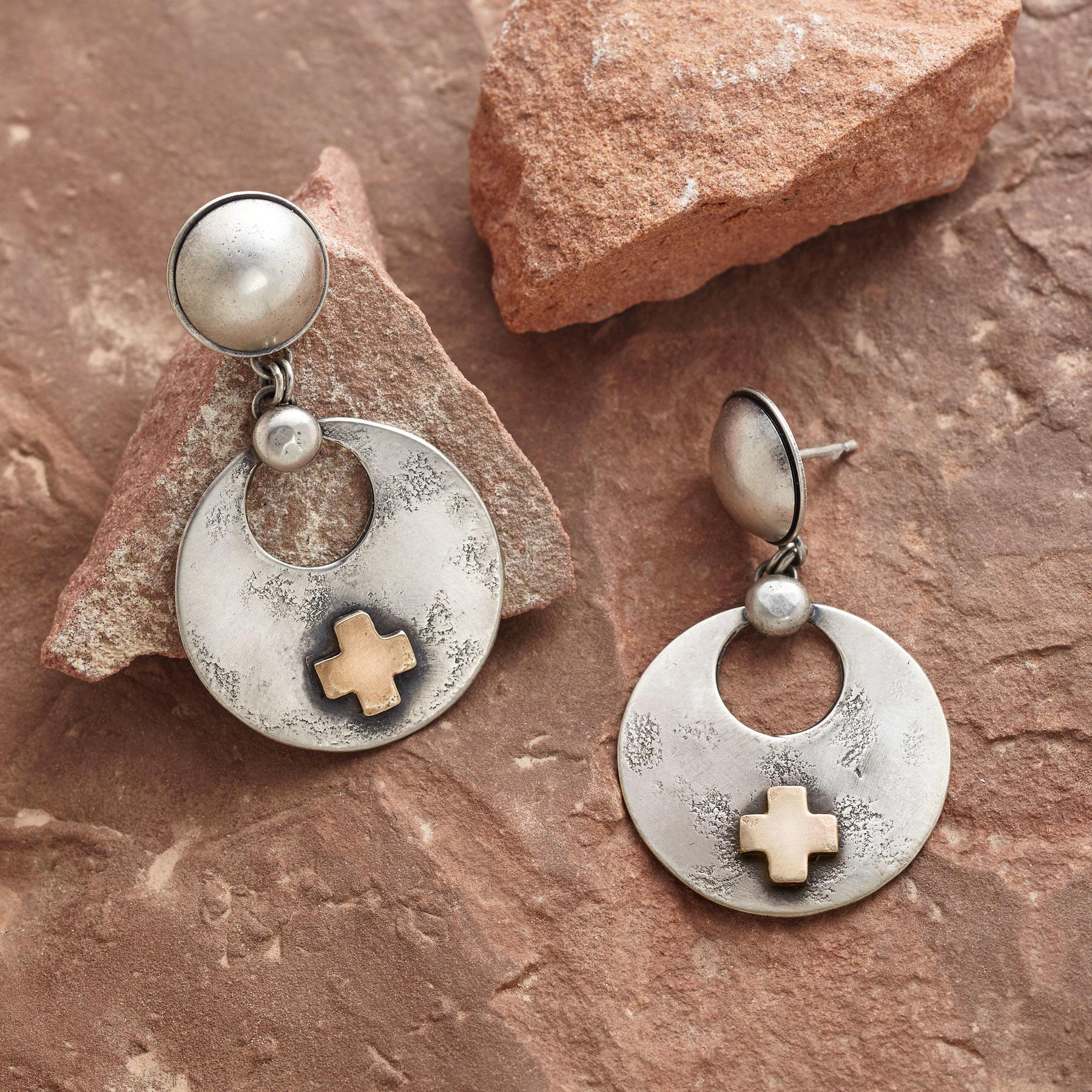 SANTA FE CROSS EARRINGS: View 1