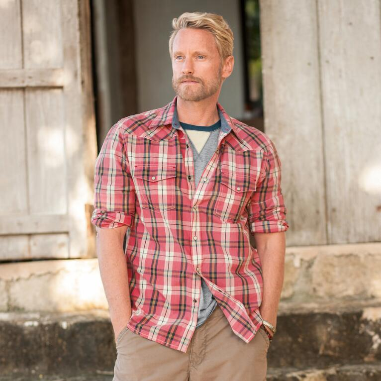 SELKIRK PLAID SHIRT - WASHED PINK