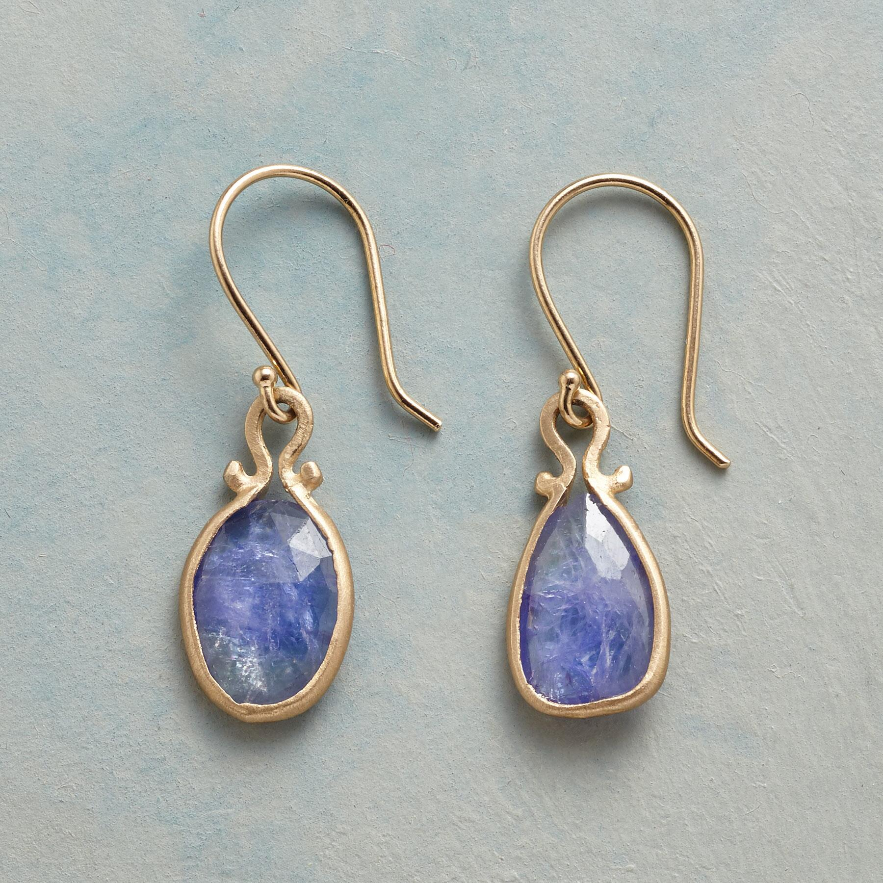 TANZANITE OMEGA EARRINGS: View 1