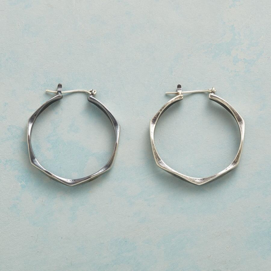STERLING HEXAGONAL HOOPS