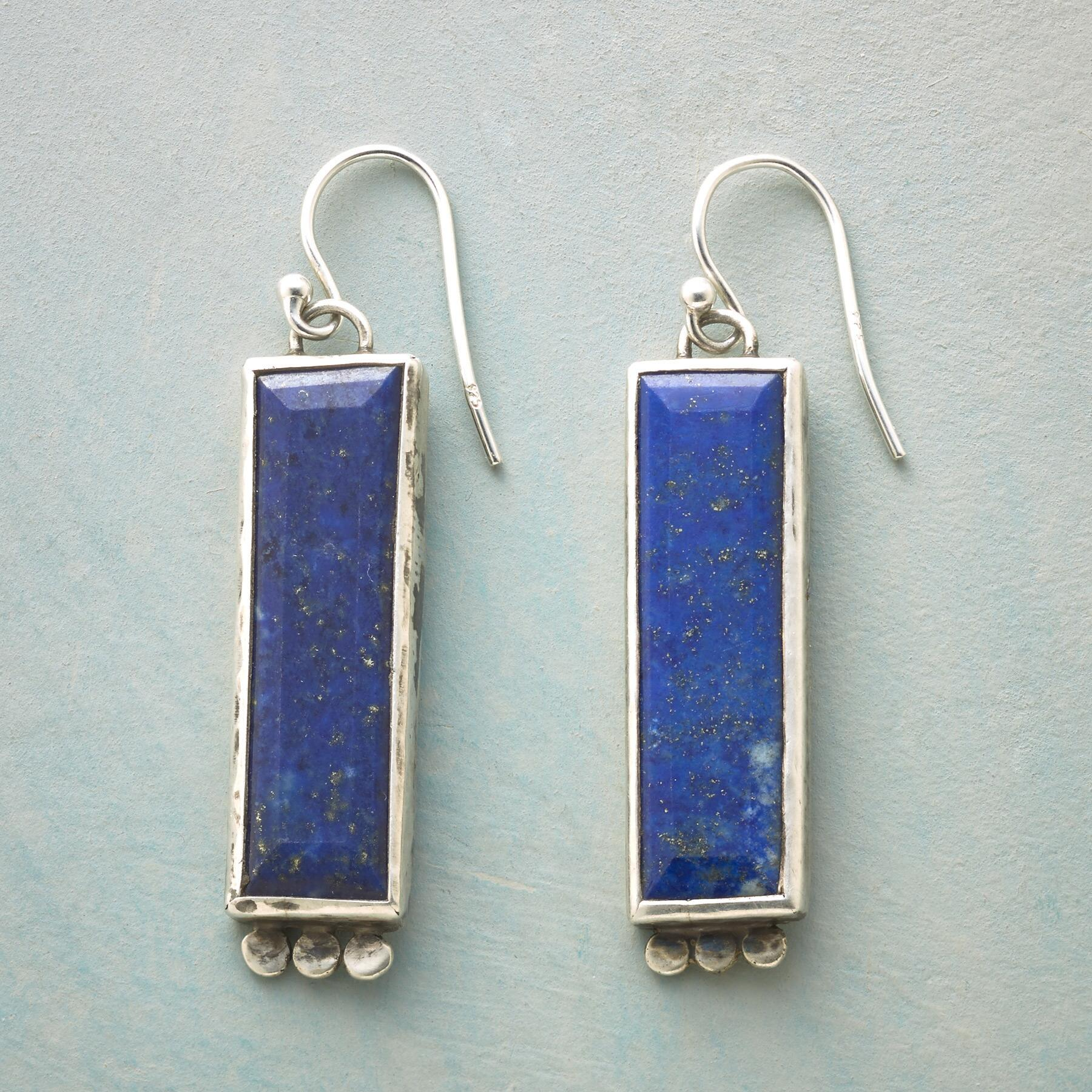 LAPIS PILLAR EARRINGS: View 1