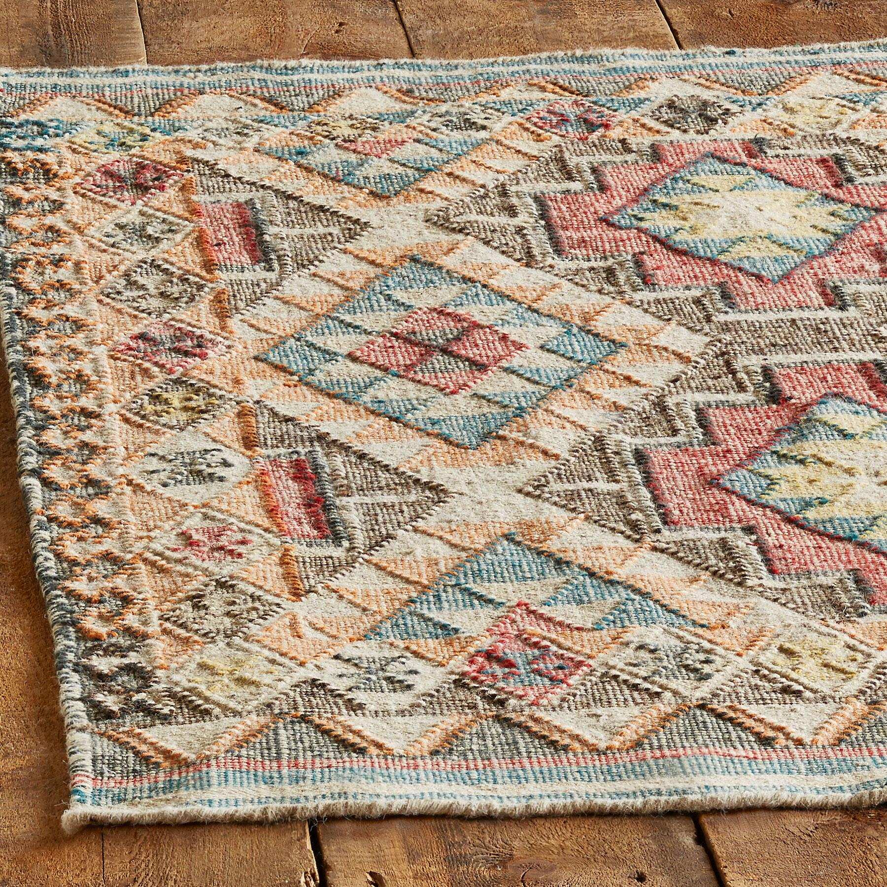 FADED DIAMONDS KILIM RUG - SM: View 2