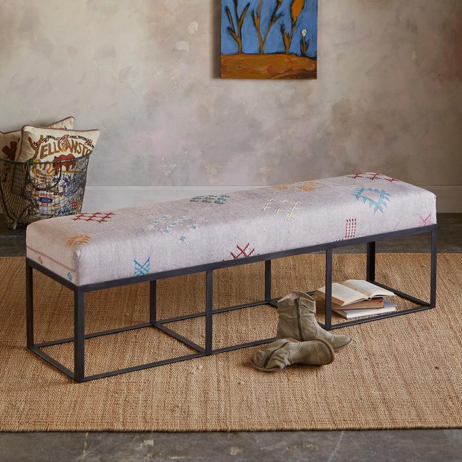 Vintage rug upholstered bench robert redford 39 s sundance catalog Moroccan bench
