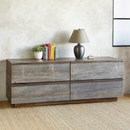 WEATHERED BARNWOOD LOW DRESSER