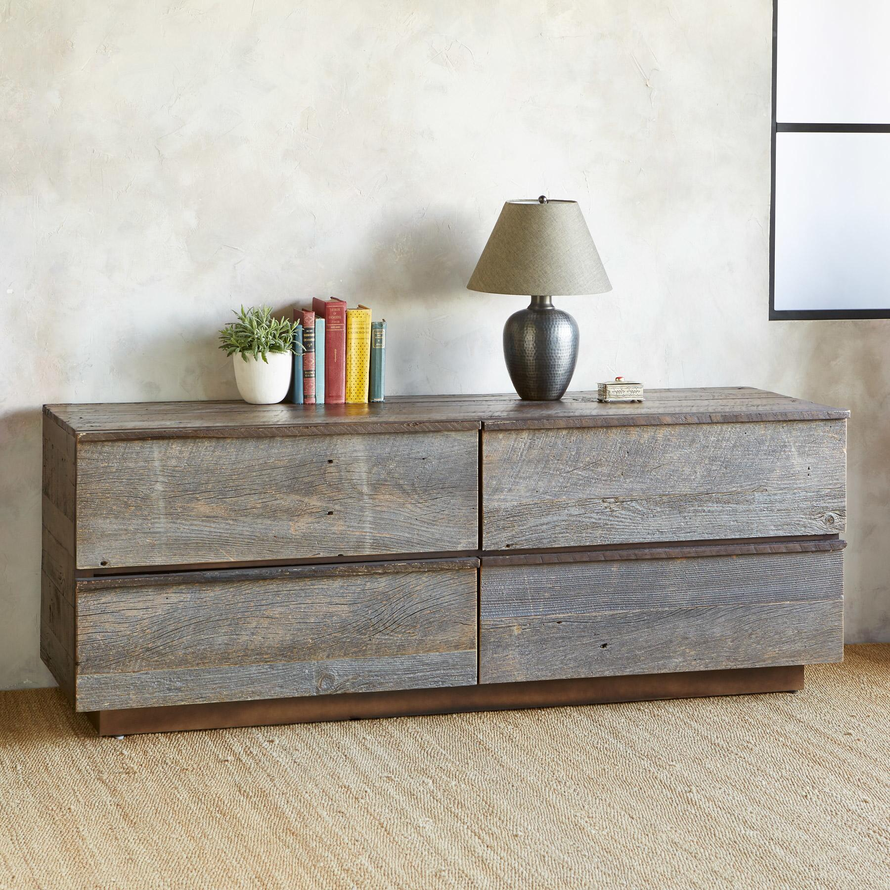 WEATHERED BARNWOOD LOW DRESSER: View 1