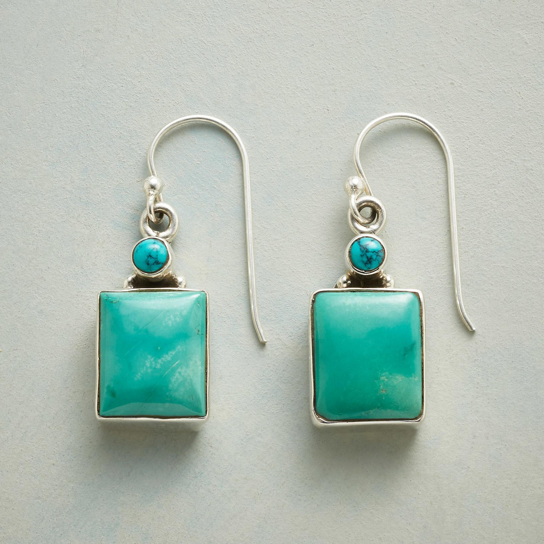 SQUARELY TURQUOISE EARRINGS: View 1