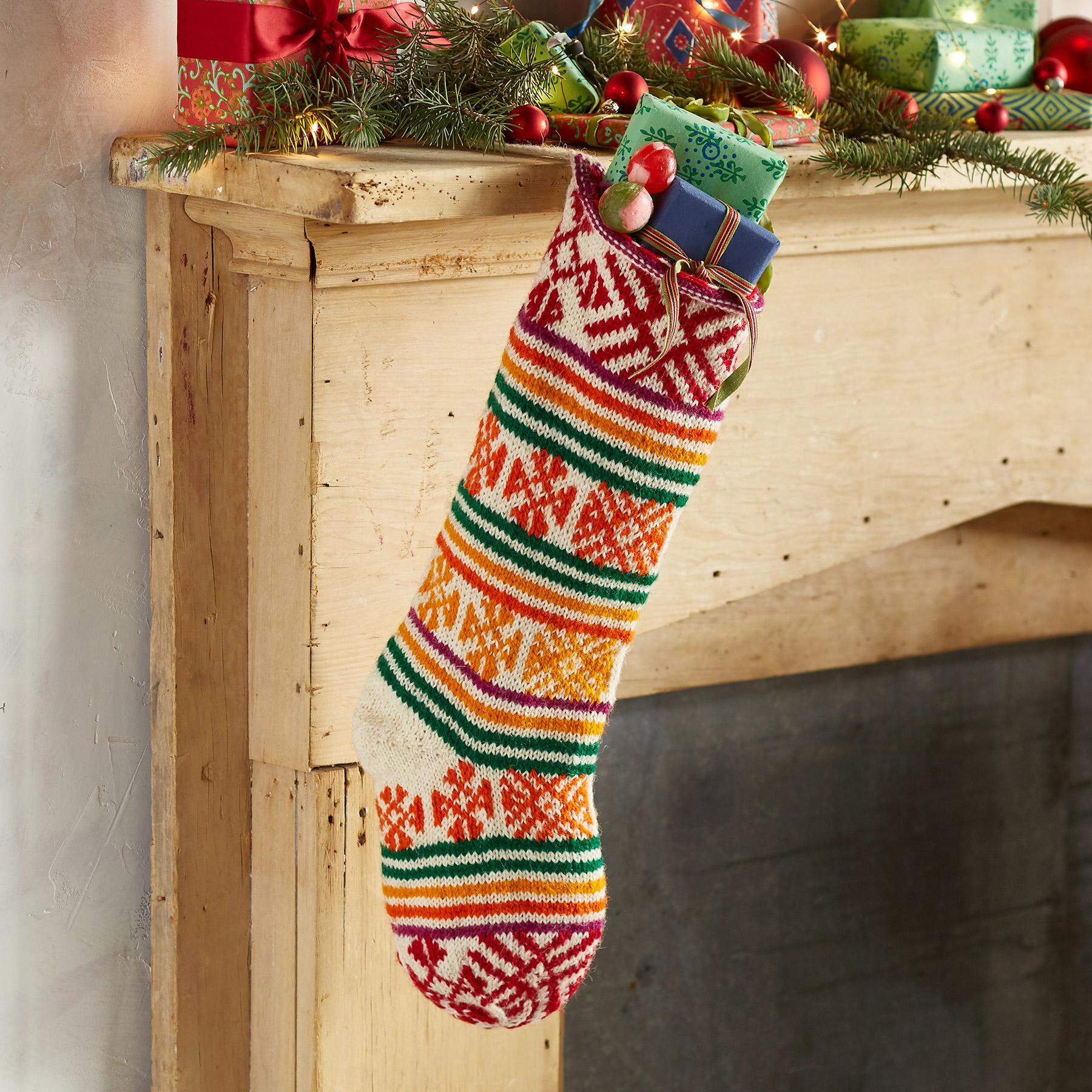 HEIRLOOM SNOWFLAKE & STRIPE STOCKING: View 1
