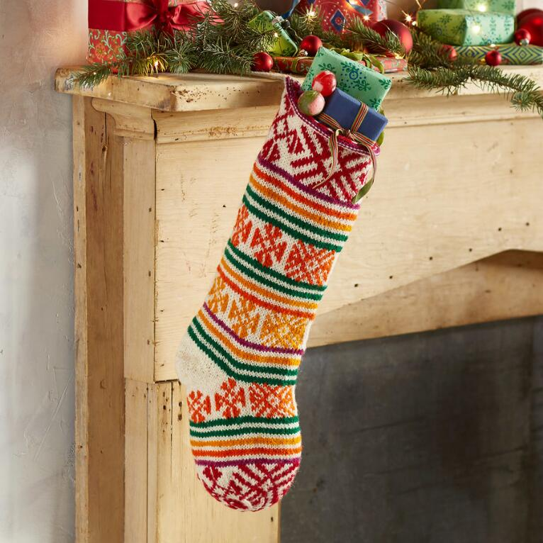 HEIRLOOM SNOWFLAKE & STRIPE STOCKING