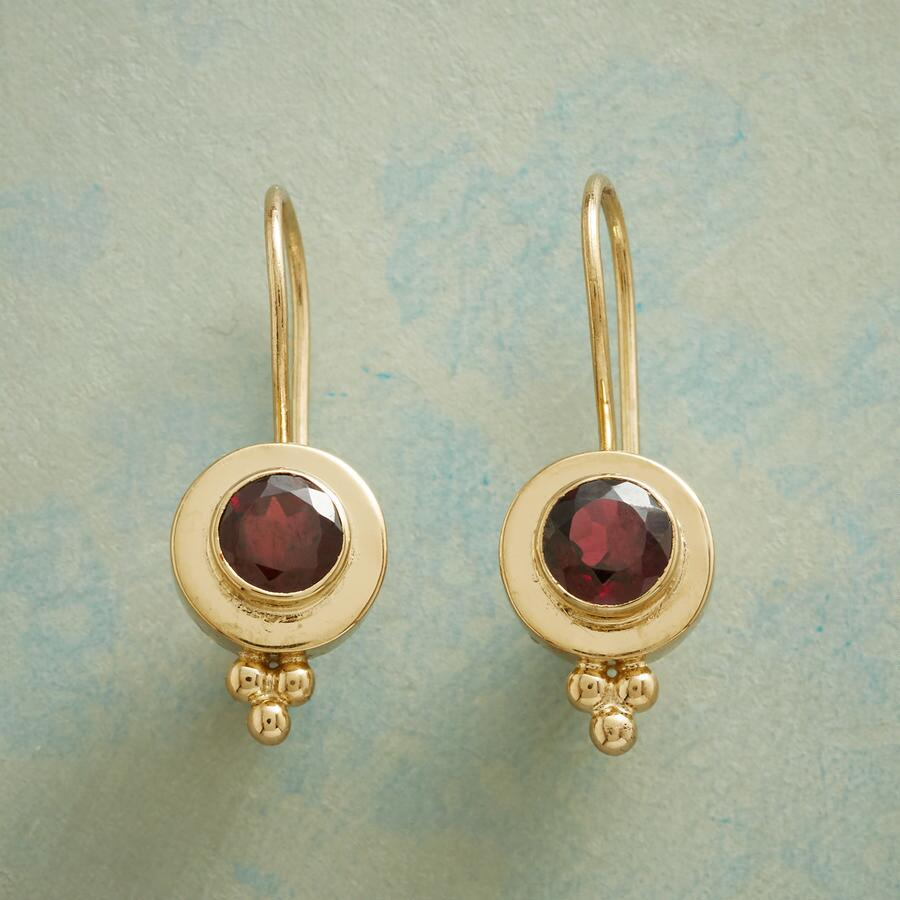 GARNET PORTHOLE EARRINGS